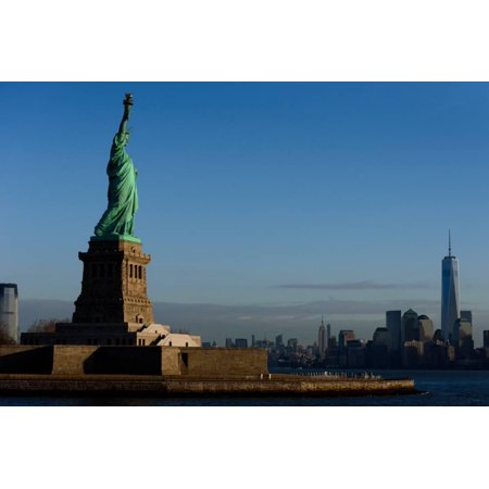 Statue Of Liberty with city in the background, Manhattan, New York City, New York State, USA Print Wall Art
