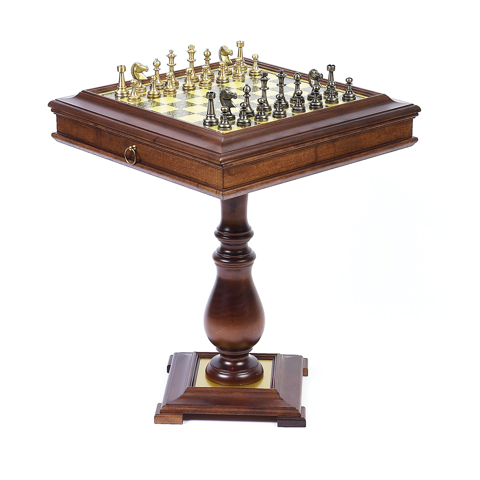 Lustrous Solid Brass/Silver Chess Set on Wormwood Table