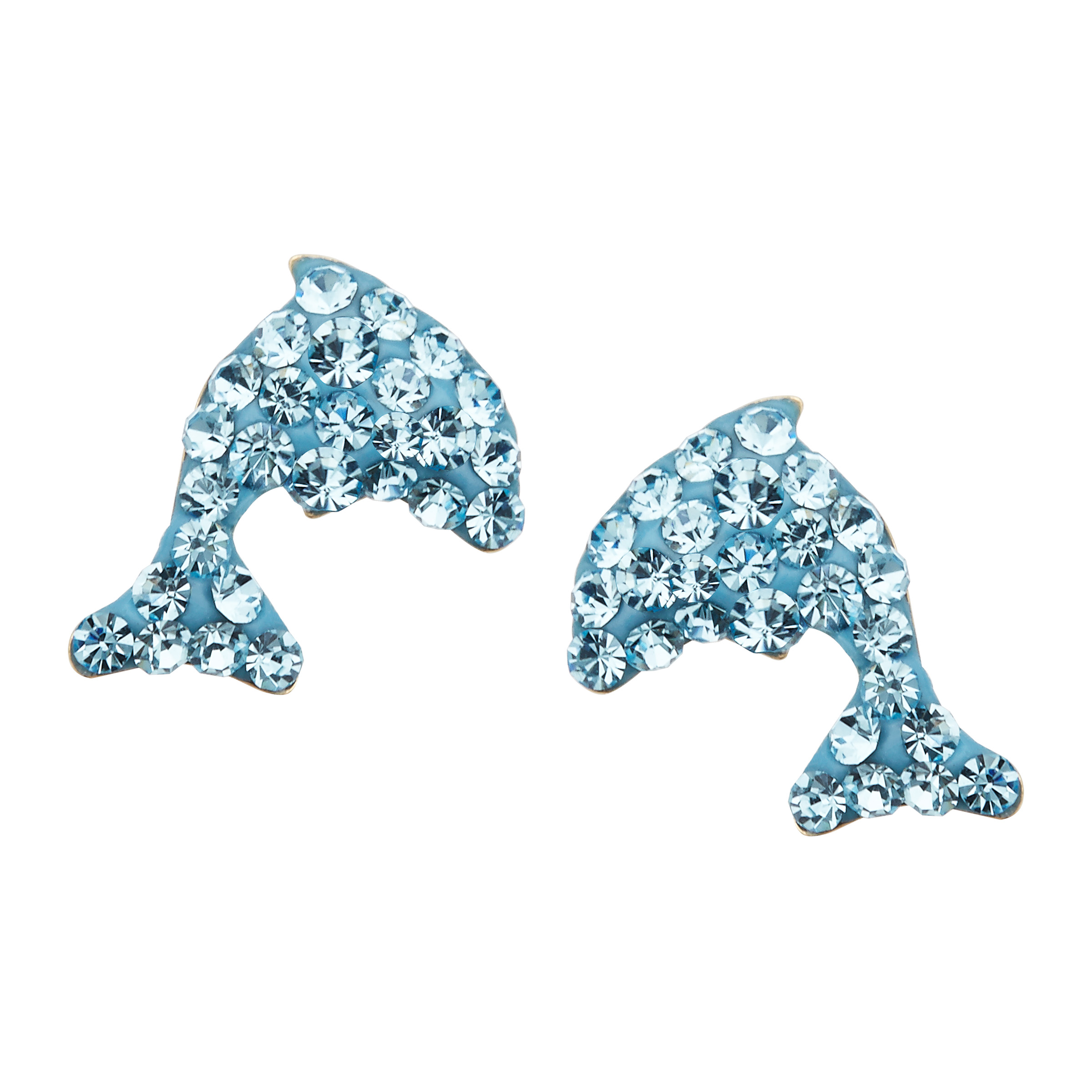 Dolphin Stud Drop Earrings with Sky Blue Swarovski Crystal in 14kt Gold