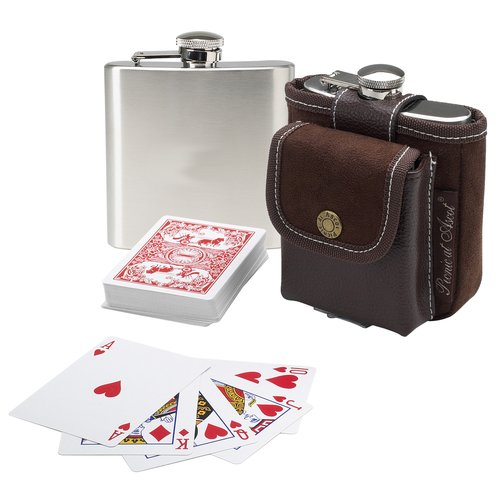 Picnic At Ascot Hip Flask and Playing Cards Set