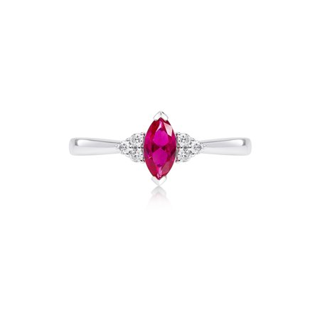 Marquise Created Ruby Ring with Cubic Zirconia Accents set in 14kt White