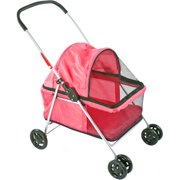 Basket-Style Portable Folding Pet Carrier Stroller