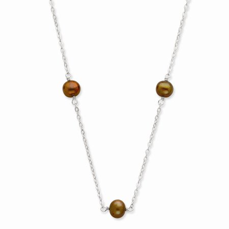 Sterling Silver 36in 7-8mm Chocolate Freshwater Cultured Pearl Necklace.