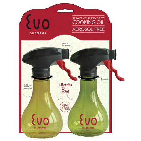 Evo Kitchen and Grill Olive Oil and Cooking Oil Trigger Sprayer Bottle, Refillable, Non-Aerosol, 8-Ounce Capacity, Set of