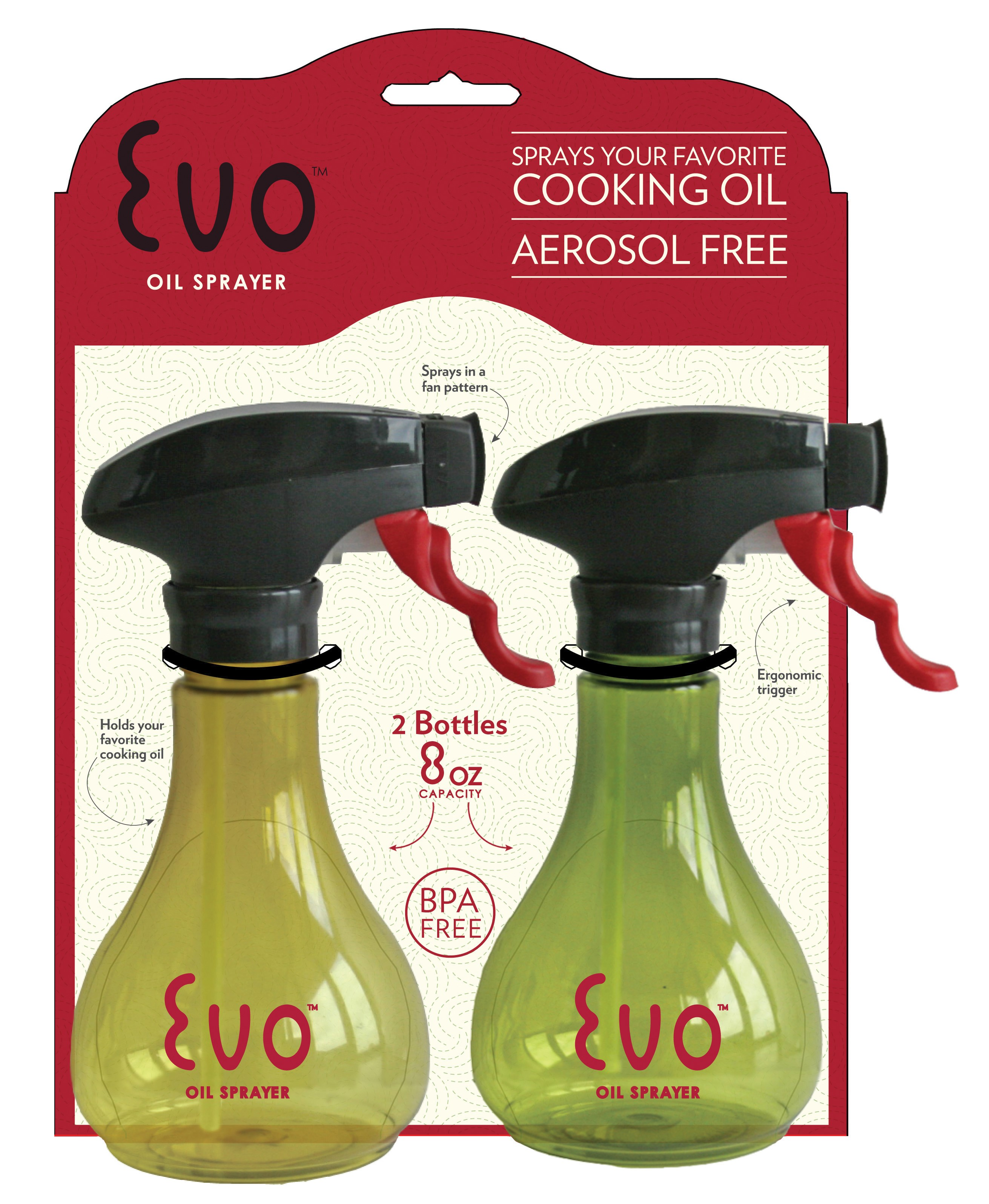 Evo Kitchen And Grill Olive Oil And Cooking Oil Trigger Sprayer Bottle,  Refillable, Non