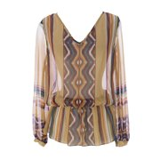 Haute Hippie Women's Sheer Graphic Blouse X-Small Nude