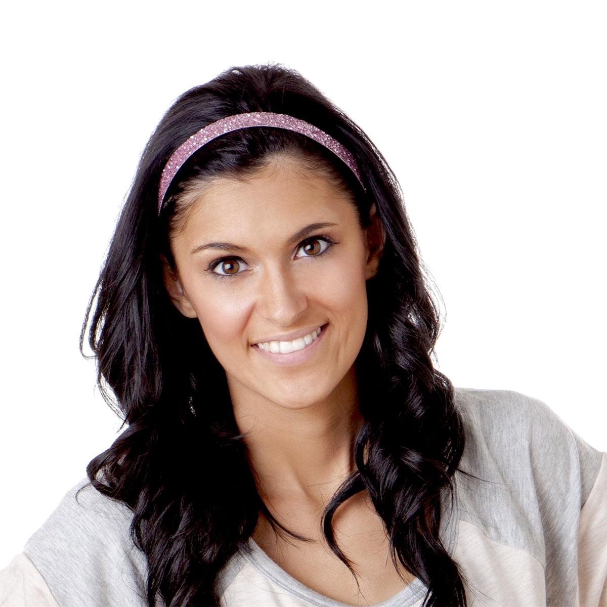 Hipsy Women's Adjustable NO SLIP Skinny Bling Glitter Headband (Light Pink)