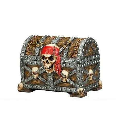 Pirate Skull Treasure Trinket Jewelry Box ()