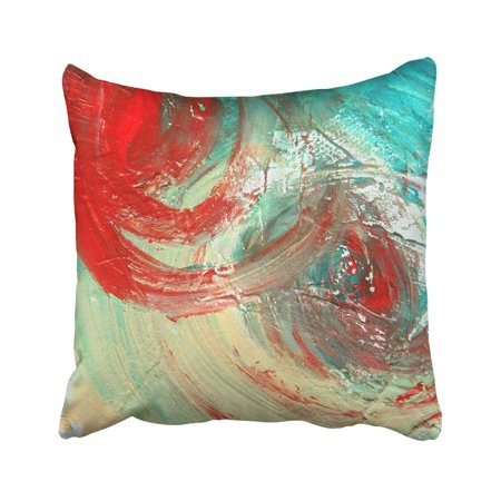 BPBOP Black Painting Abstract Blue Modern Fine Artistic Canvas Cyan Turquoise Vintage Pillowcase Throw Pillow Cover Case 18x18 inches