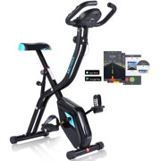 Folding Magnetic Upright Exercise Bike, New 10 level Magnetic Tension Control, Bluetooth Smart, Non-slip Pedals Magnetic Upright Bike, With Water Bottle Holder, Adjustable Padded Seat