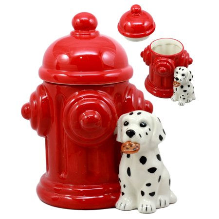 Ebros Ceramic Firehouse Dalmatian Puppy With Fire Hydrant Cookie Jar Decorative Kitchen Accessory Figurine (60g Jar)