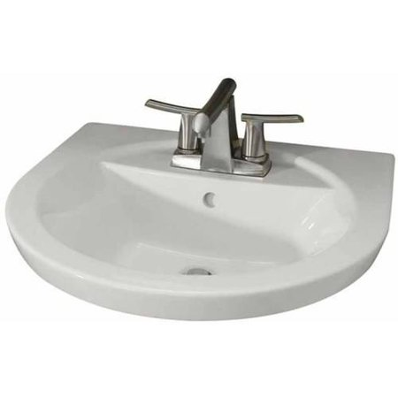 American Standard 0403.004.020 Tropic Petite Above Counter or Drop Lavatory Sink with Three Faucet Holes (4 Centers), Available in Various Colors