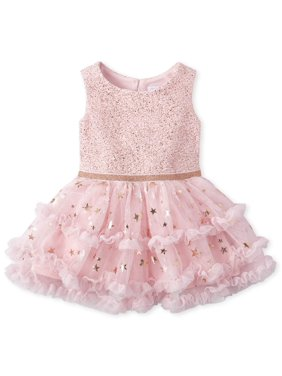 The Children's Place Sleeveless Ruffle Pleated Tutu Glitter Dress (Baby Girl)