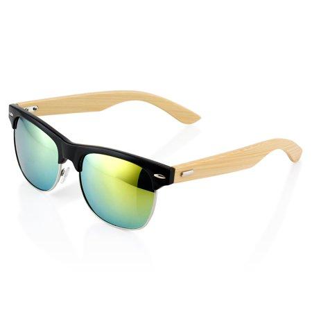 3522bd9f77 GEARONIC TM - Premium Fashion Stylish Half Frame Classic Retro Horn Rimmed  Vintage Wood Wooden Bamboo Sunglasses Black Frame with Gold Lens -  Walmart.com