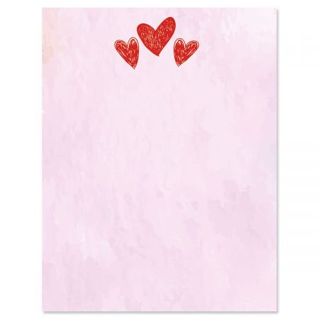 Sketched Hearts Letter Papers - Set of 25 Valentine'stationery papers are 8 1/2