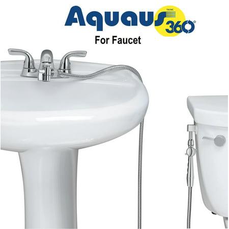 Aquaus 360 for Faucet Warm Water Bidet w/ EZ Thumb Pressure Controls on Both Sides of the Sprayer - Stainless Steel StayFlex Hose - Hand Held Bidet, Shattaf, Diaper Sprayer. Hot, Heated Bidet ()