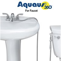Aquaus 360 for Faucet Warm Water Bidet w/ EZ Thumb Pressure Controls on Both Sides of the Sprayer - Stainless Steel StayFlex Hose - Hand Held Bidet, Shattaf, Diaper Sprayer. Hot, Heated Bidet