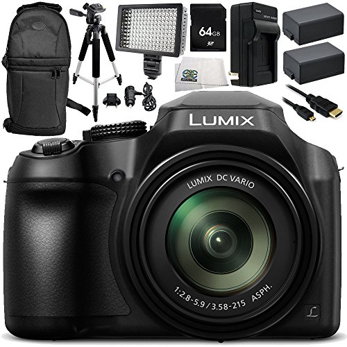 Panasonic Lumix DC-FZ80 Digital Camera 10PC Accessory Bundle – Includes 64GB SD Memory Card + 2x Replacement Batteries + AC/DC Rapid Home & Travel Charger + MORE