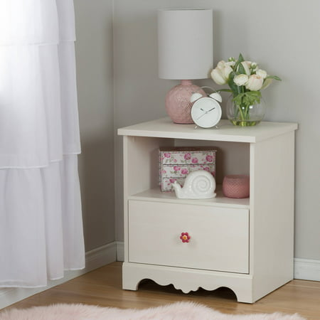 South Shore Lily Rose 1-Drawer Nightstand, White - Lily Rose Night Table