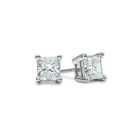 5MM Clear Square Princess Cut CZ 925 Sterling Silver 1.0 tcw Basket Setting Cubic Zirconia Nickel Free Stud Earrings