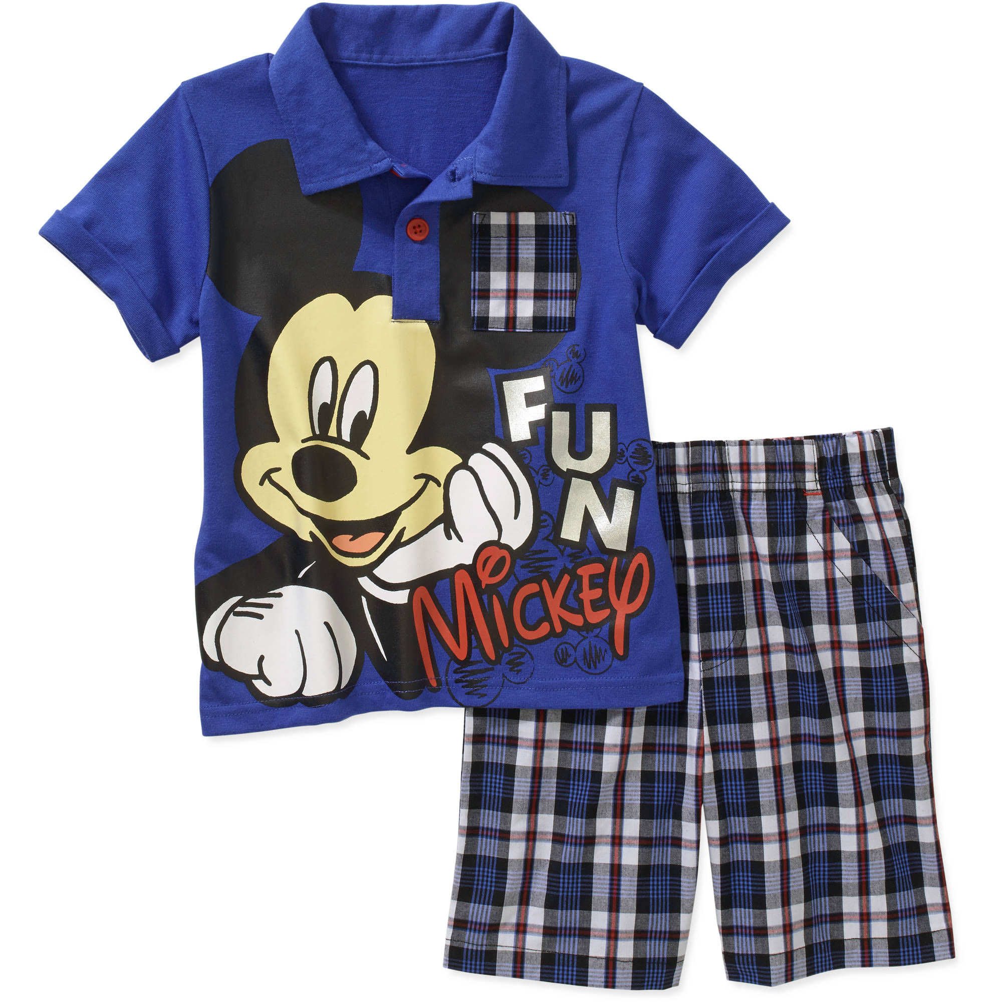 Mickey Mouse Toddler Boy Graphic Polo Tee Shirt and Shorts Outfit Set