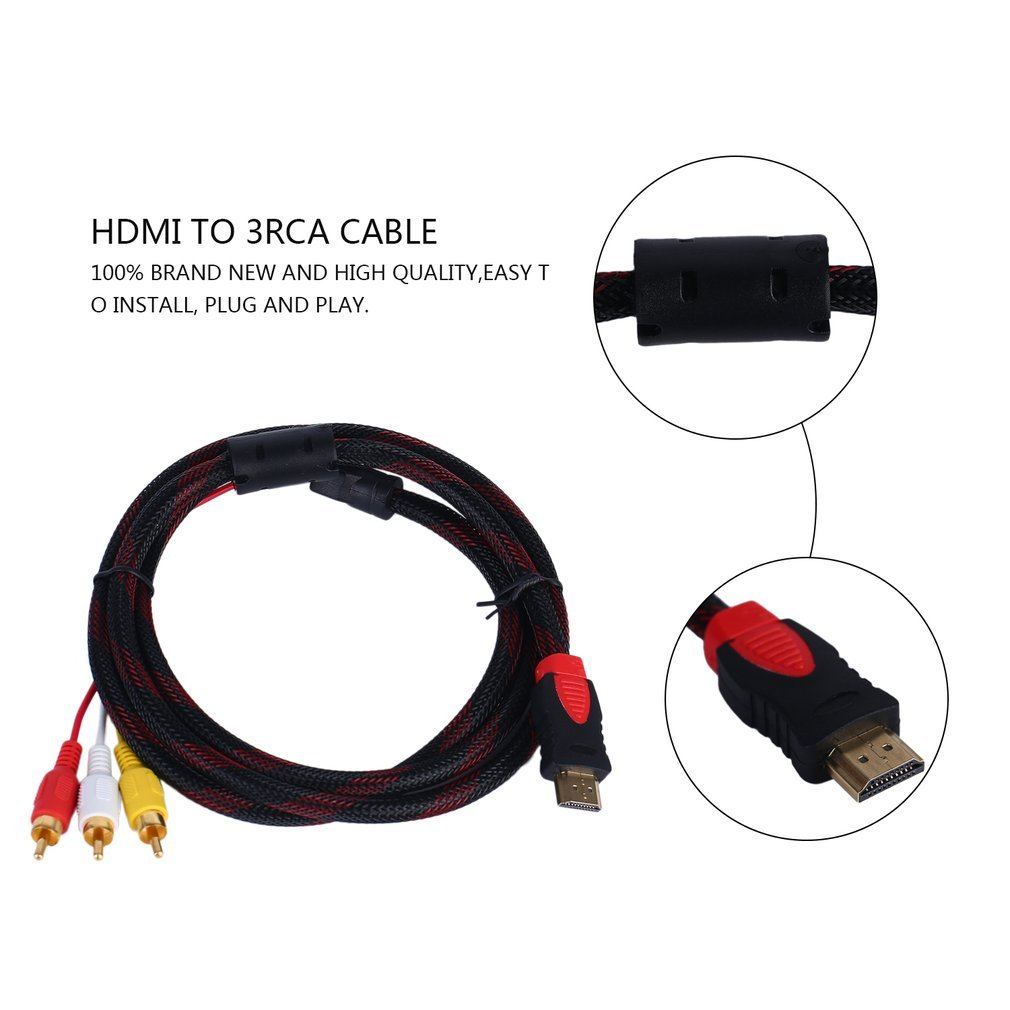 Black 5ft HDMI Male to RCA Video Audio AV Cable Power Cords & Extension Cords High Quality To 3 RCA 1.5m Cable Male Adapter Converter Cable For HDTV Drop