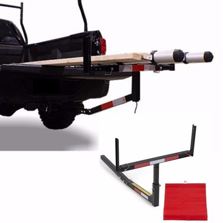Adjustable Steel Pick Up Truck Bed Hitch Extender Extension Rack with flag for Boat Lumber Long Loads Canoe Ladder Fits 2