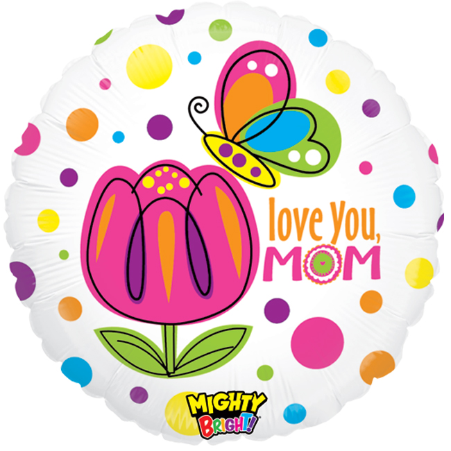 "Betallic Love You Mom Butterfly Mighty Bright 21"" Jr Shape Balloon by Betallic"