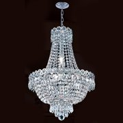 "Worldwide Lighting W83049c16 Empire 8 Light 1 Tier 16"" Chrome Chandelier - Chrome"