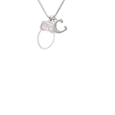 Silvertone Large Owl Outline Capital Initial C Necklace