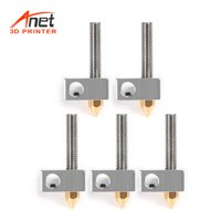 Anet 15Pcs/Pack 0.4mm Brass Nozzle Extruder Print Head + Block Hotend + 1.75mm Throat Tubes Pipes for Anet A8 A6 Ender 3 3D Printer Accessories