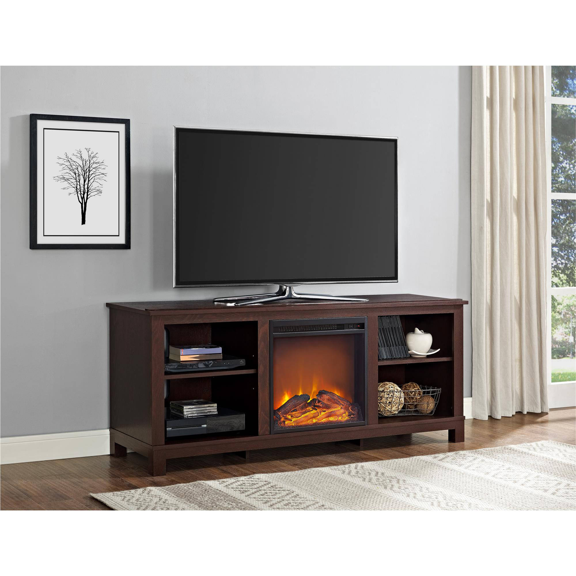 """Altra Edgewood TV Console with Fireplace for TVs up to 60"""", Espresso"""