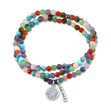 Believe by Brilliance Genuine Multi-Color Agate Triple Wrap Bracelet Featuring Fine Silver Plated Crystal