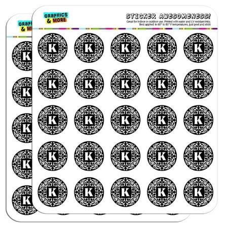 Letter K Initial Black White Scrolls 1