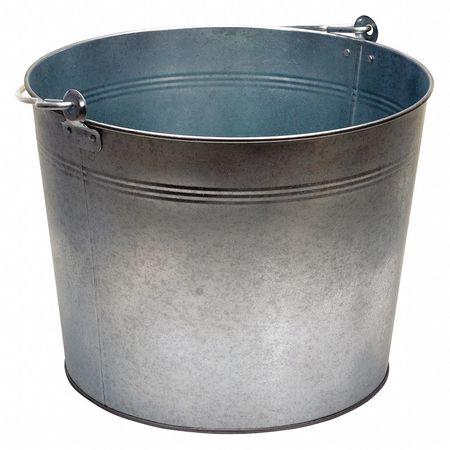 Galv Steel Bucket,Cap 5 Gal,With Handle VESTIL BKT-GAL-500