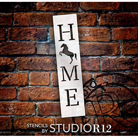 Home with Rearing Horse - Vertical Stencil by StudioR12 | Reusable Mylar Template | Use to Paint Wood Signs - Pallets - Banners - DIY Equestrian Style Decor - Select Size (6