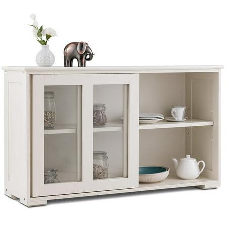 Costway Storage Cabinet Sideboard Buffet Cupboard Glass Sliding Door Pantry Kitchen New ()