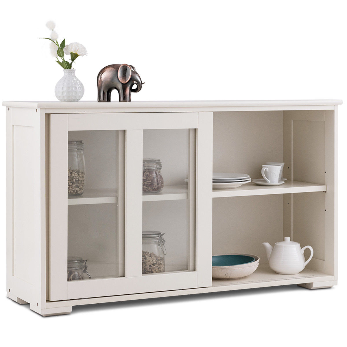 Costway Storage Cabinet Sideboard Buffet Cupboard Glass Sliding Door Pantry Kitchen New