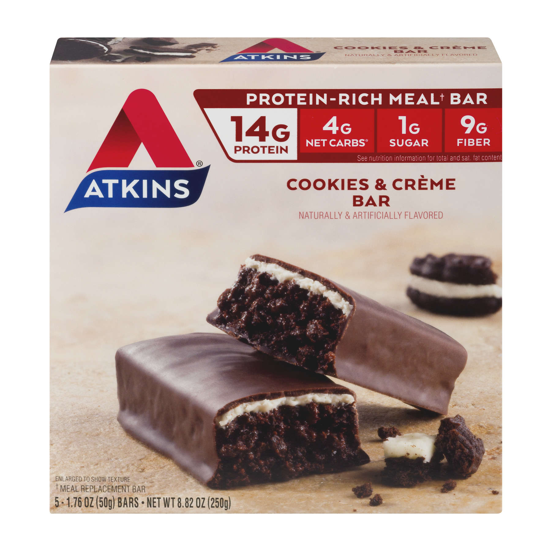 Atkins Cookies N Creme Bar, 1.8oz, 5-pack (Meal Replacement)