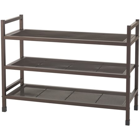 Stackable Shoe Rack - NeatFreak NFC05045 4E3629-001 Heavy-Duty Stackable 3-Tier Metal Shoe Rack with Mesh Shelves