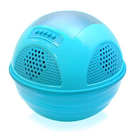 Portable Waterproof Floating Pool Speaker - Outdoor Wireless Bluetooth Compatible Solar Rechargeable Battery Powered Shower loud Speaker System - USB Charger - Android iPhone - Pyle PWR95SBL