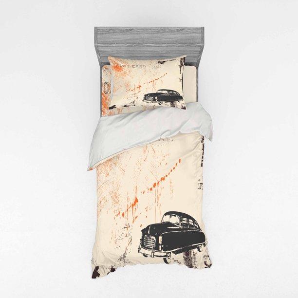 Vintage Car Duvet Cover Set Art With, Old Fashioned Car Bedding