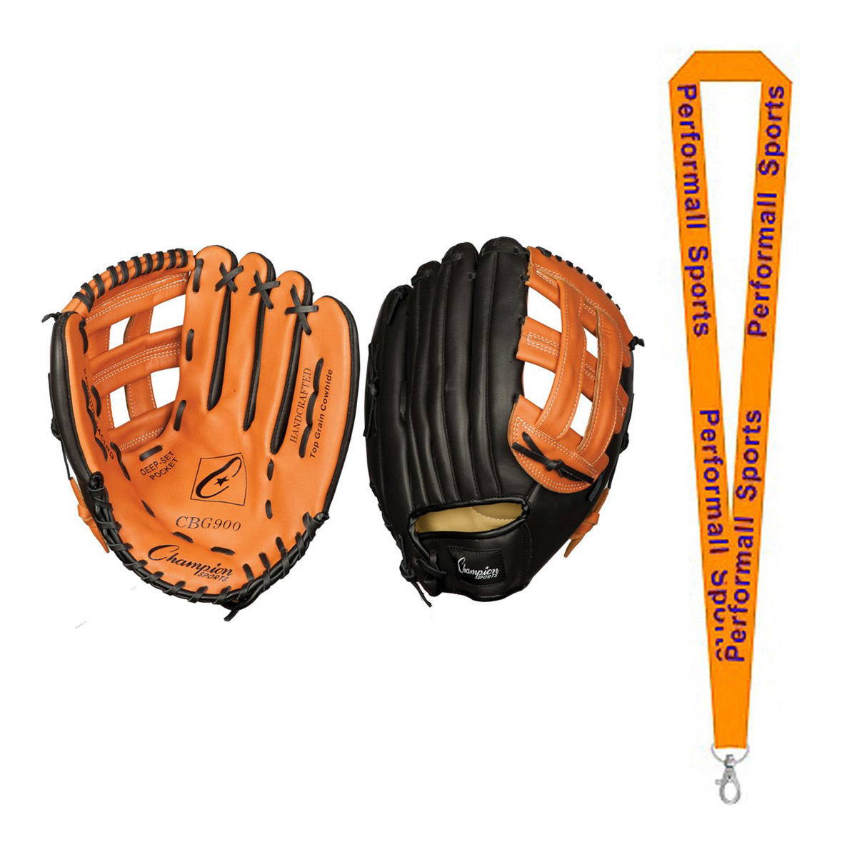 "Champion Sports Bundle: 13"" Fielder's Glove - Full Right Black with 1 Performall Lanyard CBG900RH-1P"