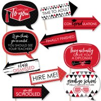 Funny Red Grad - Best is Yet to Come - Red Graduation Party Photo Booth Props Kit - 10 Piece
