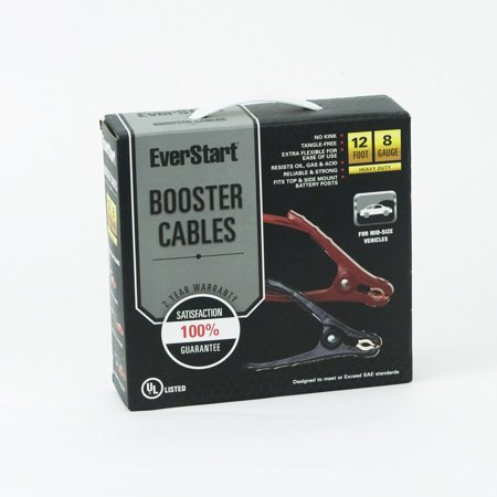 Everstart 12 Ft  8 Gauge Booster Cables