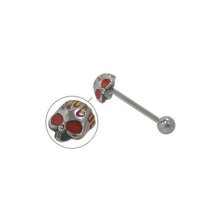 Barbell Head - Skull Head Straight Barbell Tongue Ring
