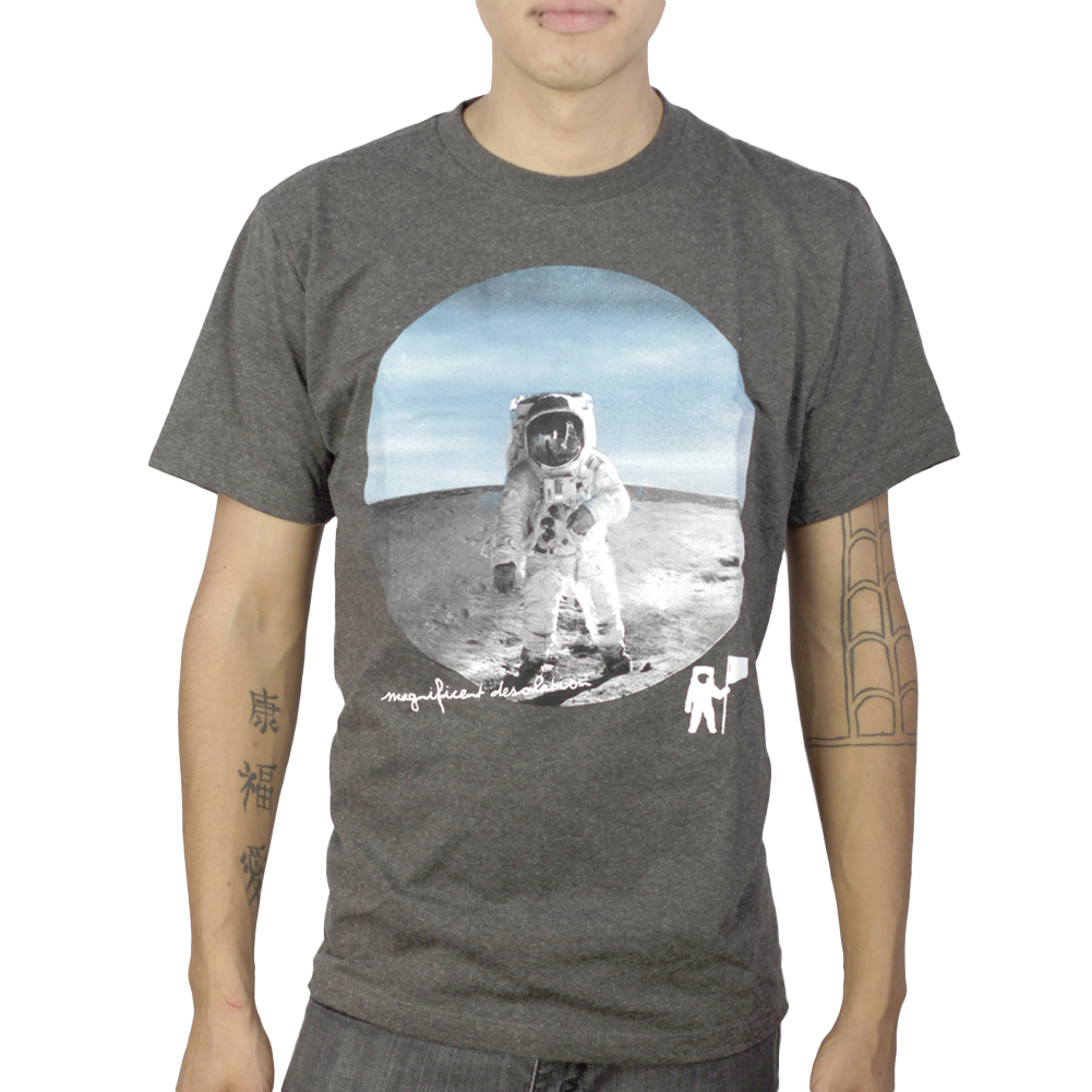 NASA Man On The Moon Magnificent Desolation Men's Grey T-shirt NEW Sizes M