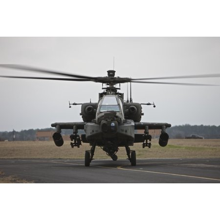Ah 64 Apache Helicopter Sits On The Runway During Flight Operations Conroe Texas Poster Print