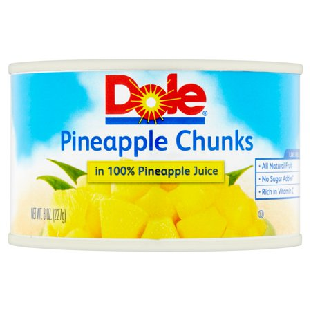 Dole Canned Fruit Chunks In Its Own Juice Pineapple, 8 oz