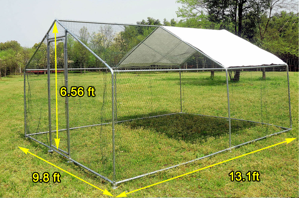 13x10ft Large Chicken Coop Walk In Metal Chicken Cage Pens Cage